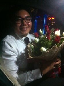 The boyfriend with a surprise bouquet