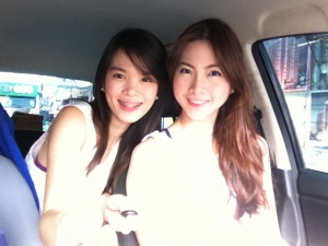 Me and sister using the Monopod Pat gave me before we went to RobMag.