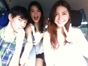 Me and my siblings in the car while I was driving.