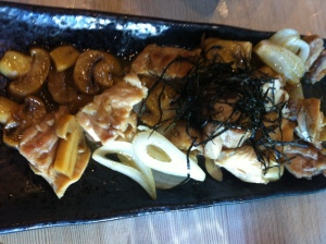 Some mushrooms and beef for our appetizer