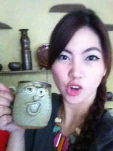 Do we look alike now? Me imitating the look on this cute cup