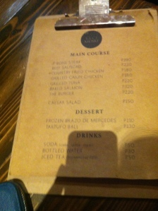 Their Single Page Menu. I tried to flip this page unfortunately they only have a limited Menu to choose from