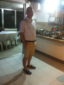 The birthday boy with his preppy outfit of the night from Uniqlo