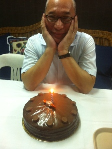 The Birthday Boy before blowing his cake