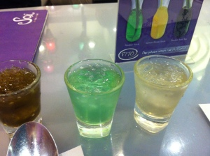 Their free drink samplers to aid me in my choice of beverage for the night