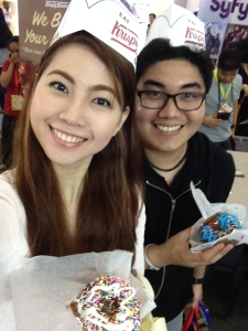 Thanks Krispy Kreme! :D P played with the sweet frosting on his donut by making out our names in his delectable treat! :D