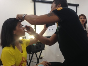 Tonette being dolled up by HMUA Jackie