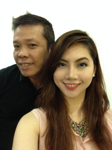 With Mr. Jackie who enhanced my features and helped me go about with my brows