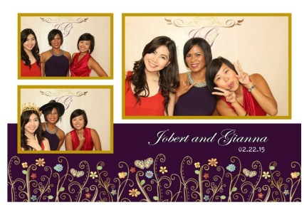 Me, Kara and Sarah posing in the photo booth situated outside the reception area
