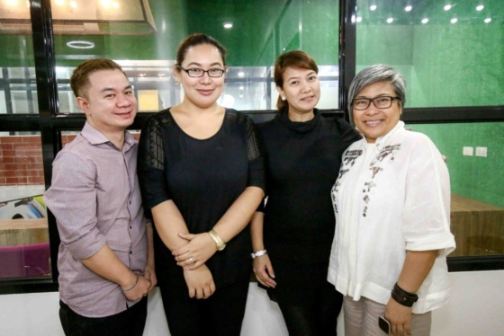 From left: Hair Dressing Instructor Marvin Eustaquio, Make Up Artistry Instructors Mitch Elendu and Faye Young, and Lead Instructor Cecille Rebollos