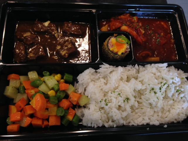 P's fully loaded meal in a bento box