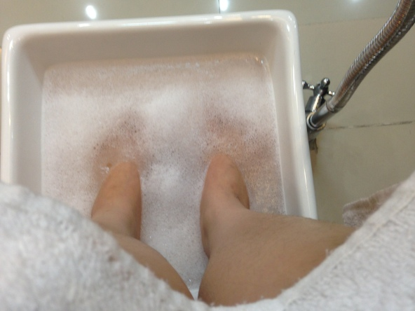 Soaking my feet in warm water makes me feel so relaxed