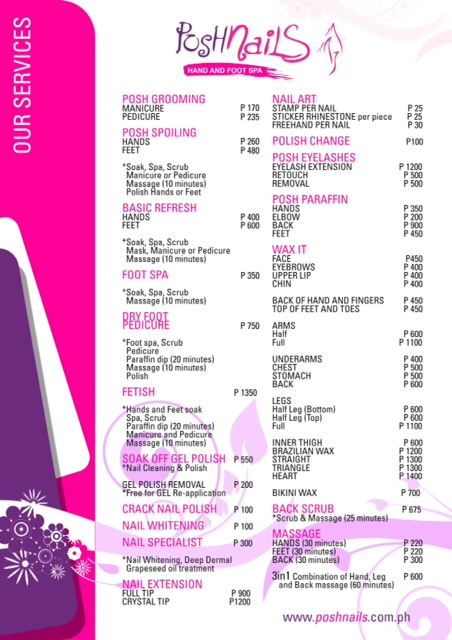 Posh Nails Menu of Services(1)