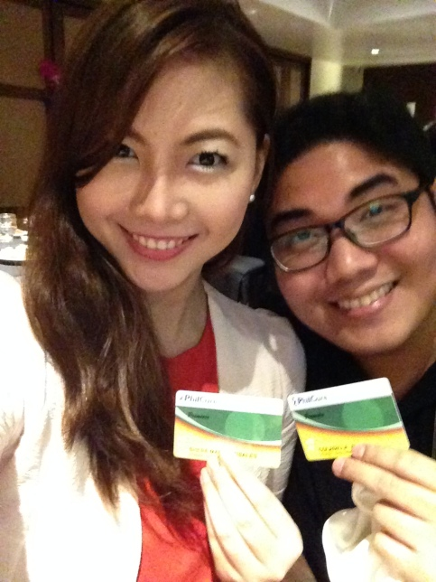 Me and P holding their new NFC Cards