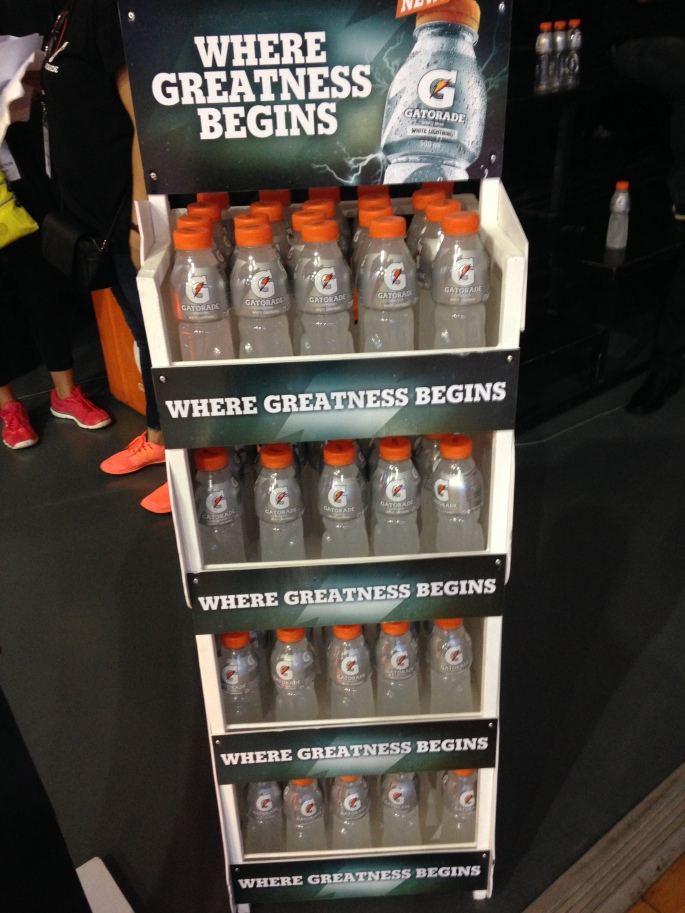 Stacks of Gatorade were put in the corners of the gym which was very helpful in quenching my thirst